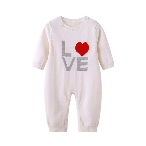 Love logo Knitted Romper Suit - Rompers Baby Boutique