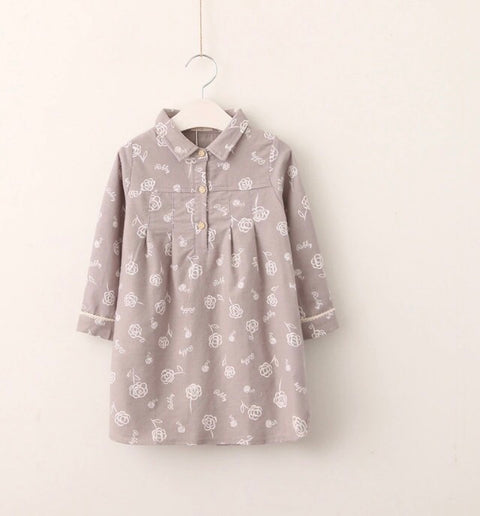 Girls Grey Floral Dress