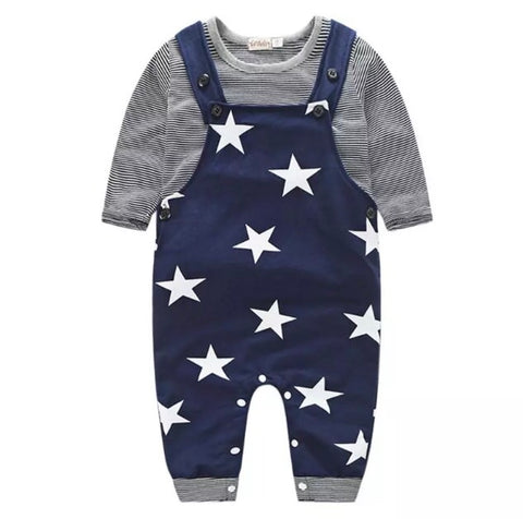 Star Romper with Stripe Top - Rompers Baby Boutique