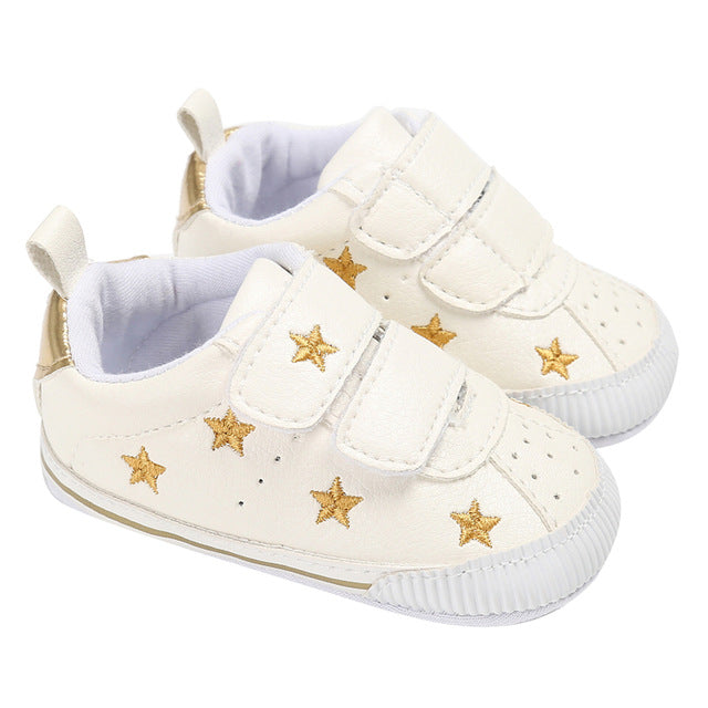 929076f889c8 Newborn Baby Shoes Boys Girls Sneaker Gold Stars Pattern First Walkers Shoes  For Children Baby Infant