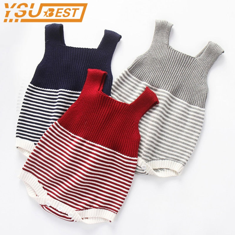 06b60445289 New 2018 Baby Boys Girls Knit Romper Girls One-pieces Clothes Kids  Suspender Sleeveless Romper ...