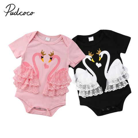 f5c56f3fca Newborn Infant Baby Girls Swan Romper Princess Lace Cotton Jumpsuit Baby  Girls Summer Clothes - Rompers