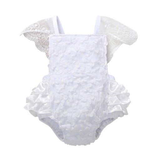 c7af98471a11 Infant Kids Baby Girls Clothes Princess White Lace Sleeveless Jumpsuit  Bodysuit Summer Outfits Clothes Summer Baby