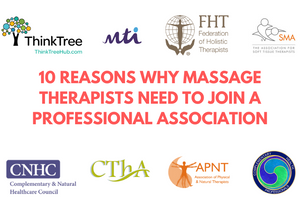 10 reasons why massage therapists need to join a professional association surrounded by the logos of popular associations