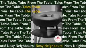An image of the face cradle of a massage table with Tales from the Table Nosey Neighbours over the top to advertise a series of tales from massage and physical therapists from Massage Warehouse