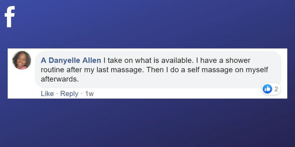 Facebook post from A Danyelle Allen about a wind down routine after treatments