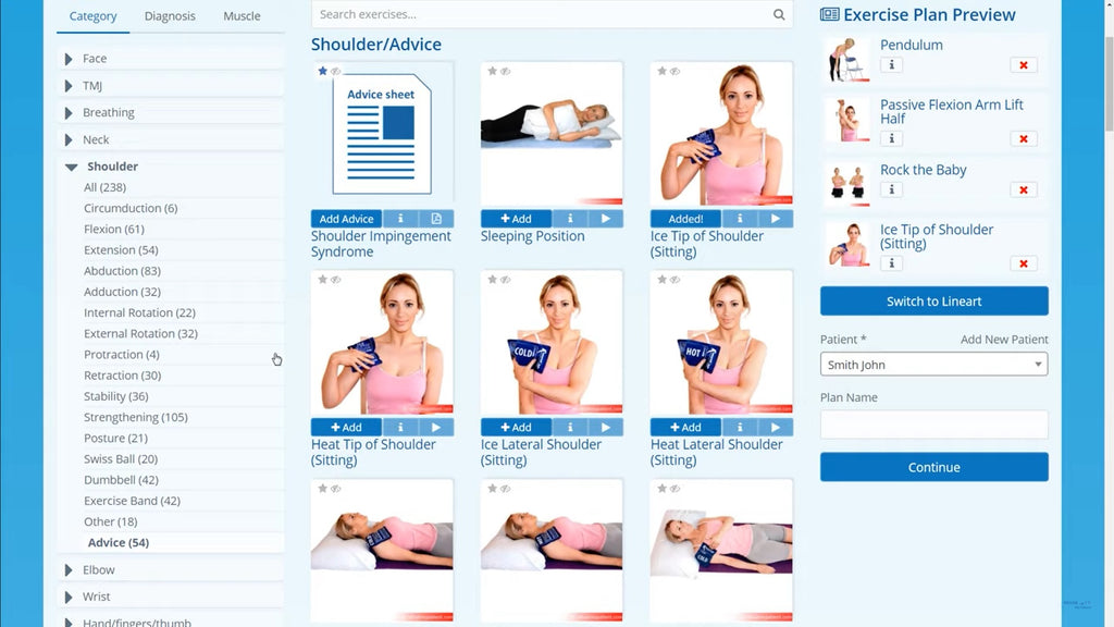 Add exercises screenshot on Rehab My Patient