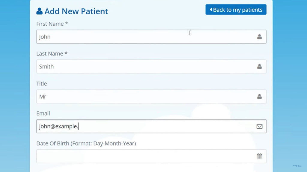 Add new patient screenshot on Rehab My Patient