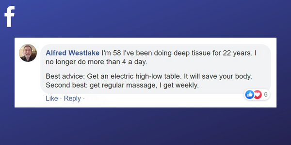Facebook post from Alfred Westlake about upgrading to an electric massage table to prolong your career