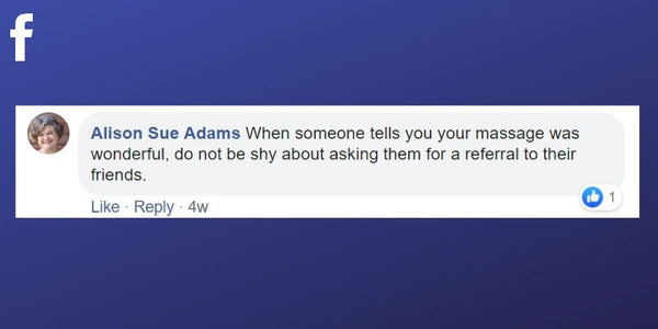 Facebook post from Alison Sue Adams about asking for referrals