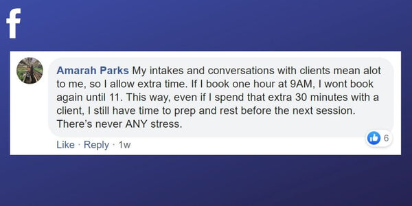 Facebook post from Amarah Parks about leaving an hour free between treatments