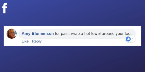 Facebook post from Amy Blumenson about relieving pain in the feet with a hot towel