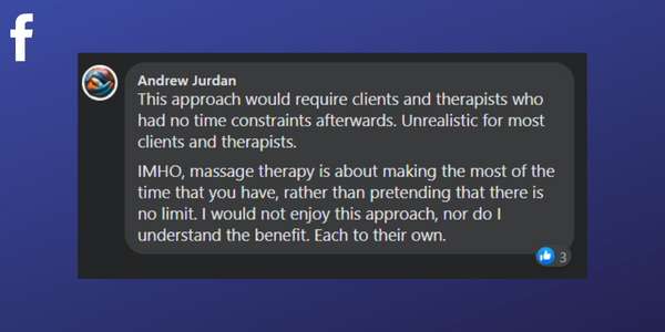 Comment from Massage Therapist Andrew Jurdan about timeless treatments