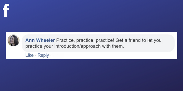 Facebook post from Ann Wheeler about practicing your pitch with friends