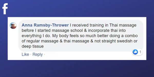 Facebook post from Anna Ramsby-Thrower about training in Thai Massage to maintain a healthy career as a massage therapist