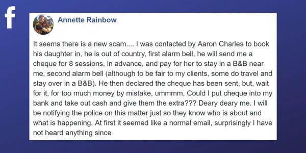 Facebook post from Annette Rainbow about scam involving over payment
