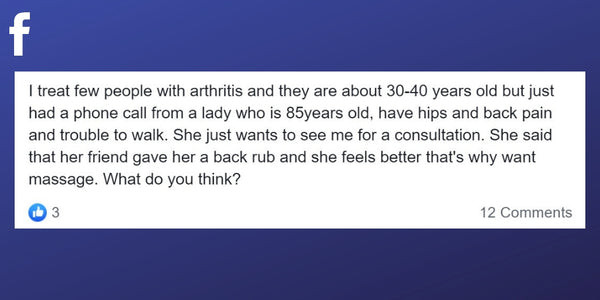 Facebook post about seeing multiple clients with arthritis
