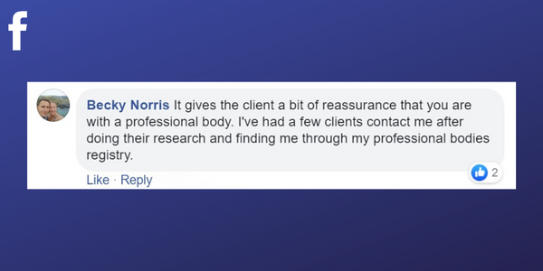 Facebook post from Becky Norris about clients coming to her for massages after researching professional associations