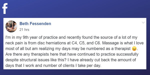Facebook post from Beth Fessenden about pain cause by working as a massage therapist