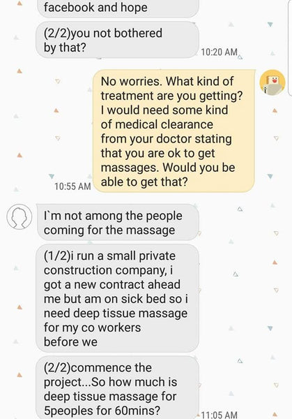 Message from scam artist using cancer treatment to win trust