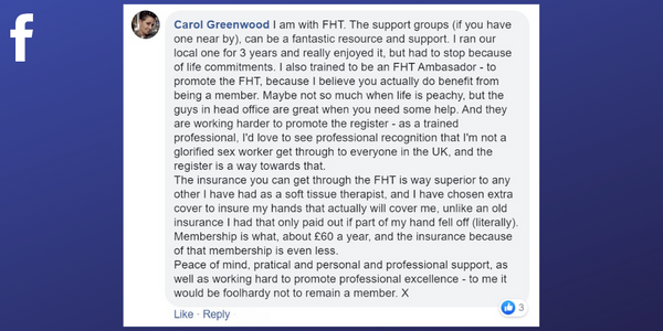 Facebook post from Carol Greenwood about professional associations helping with insurance