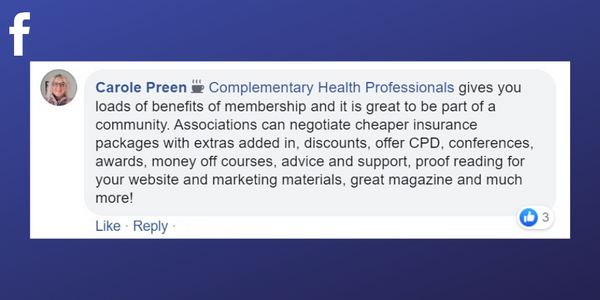 Facebook post from Carole Preen about professional associations being able to help with proof reading your massage therapy businesses' website and marketing materials