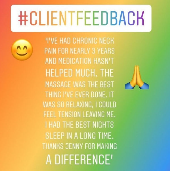 Instagram post from Jenny Hamption with client feedback from a massage treatment