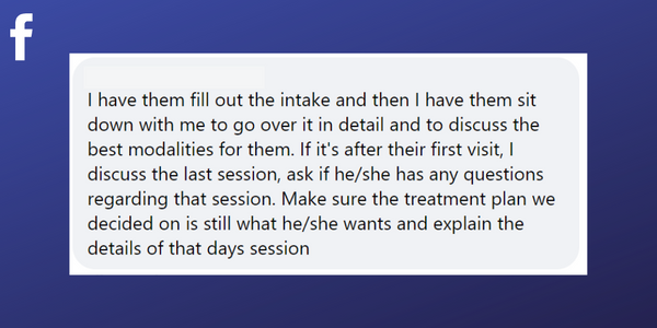 tips from a massage therapist about client consultations from Facebook