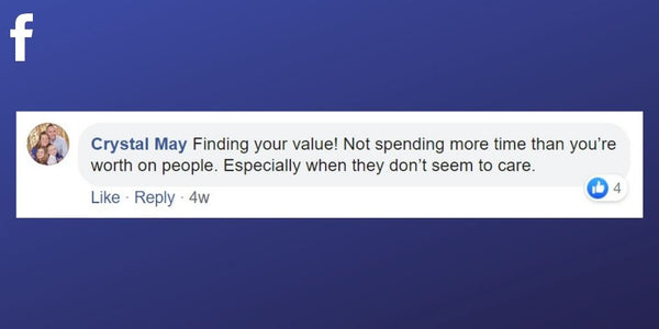 Facebook post from Crystal May about finding your value