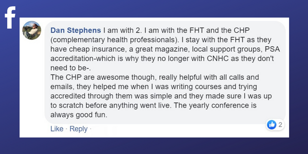Facebook post from Dan Stephens about the benefit of events from professional associations