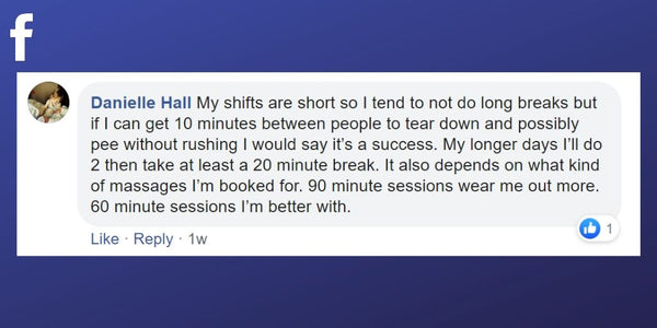 Facebook post from Danielle Hall about sneaking in short breaks between massages