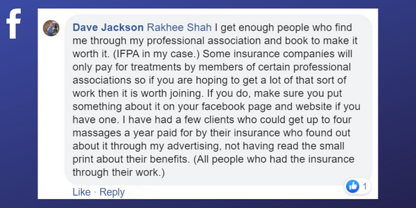 Facebook post from Dave Jackson about getting clients through belonging to a professional association
