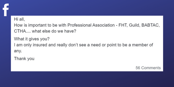 Facebook post sparking a debate about whether as a massage therapist you need to belong to a professional association