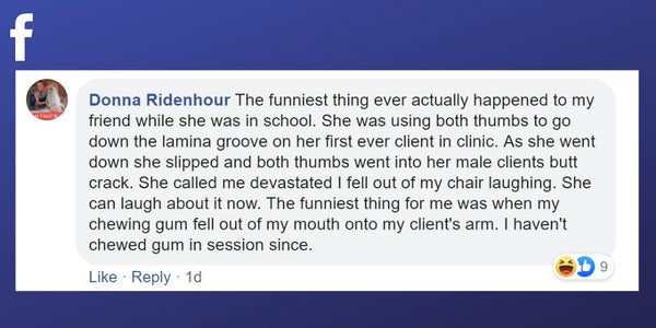 Facebook post from Donna Ridenhour about slipping during a massage treatment