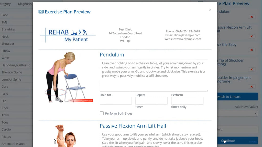 Edit exercises screenshot on Rehab My Patient