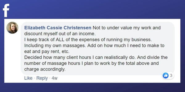 Facebook post from Elizabeth Cassie Christensen about setting her prices