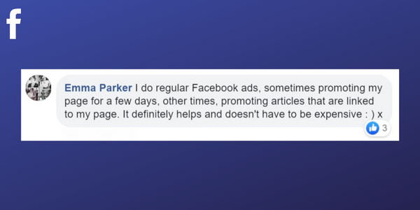 Facebook post from Emma Parker about using Facebook adverts to grow her massage therapy business