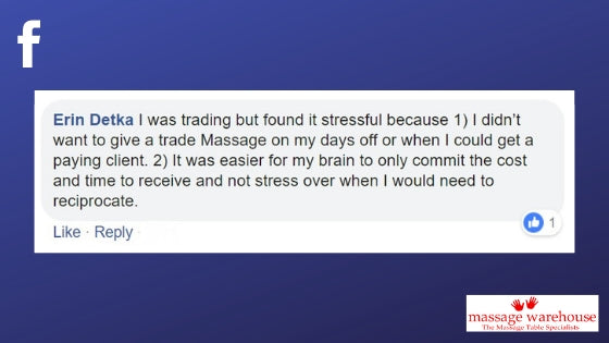 Problems with massage swaps comment from Facebook from Erin Detka