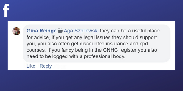 Facebook post from Gina Reinge about professional associations can help with legal issues