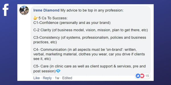 Facebook post from Irene Diamond about what it takes to be the best massage therapist.
