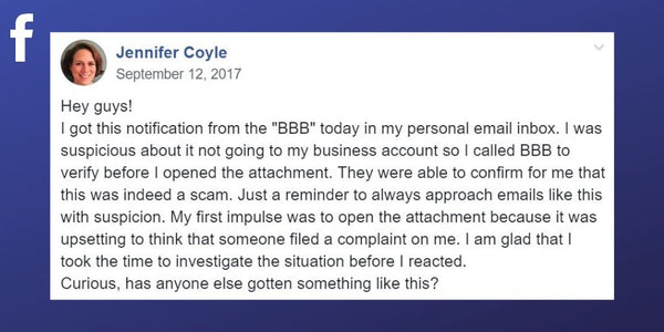 Facebook post from Jennifer Coyle about a false complaint scam