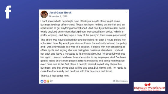 Facebook quote from Jessi Gates Brock about the frustrations of enforcing a cancellation policy