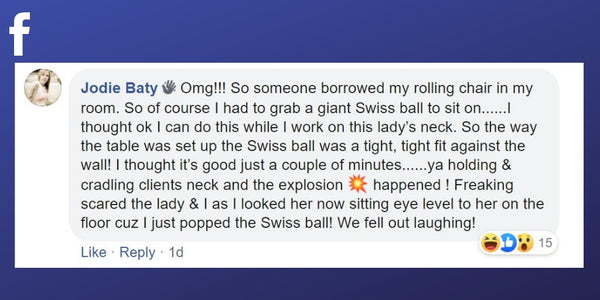 Facebook post from Jodie Baty about falling off a swiss ball during a massage treatment