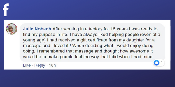 Facebook post from Julie Nobach about why she became a massage therapist