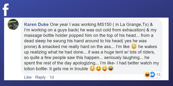 Facebook post from Karen Duke about an awkward moment with a client during a massage