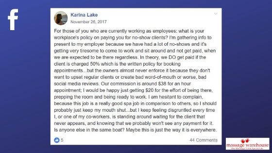 Facebook post from Karina Lake about the frustration of not being paid for no shows