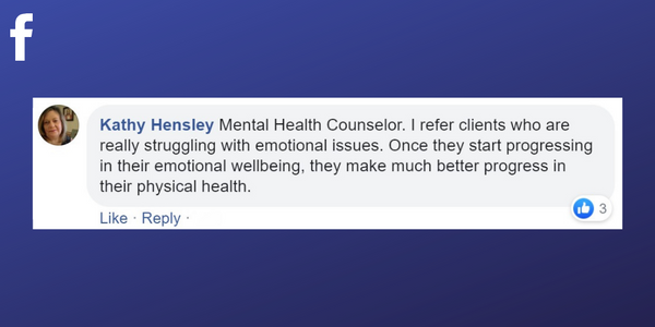Facebook post from Kathy Hensley about getting referrals to her massage therapy business from a mental health counsellor