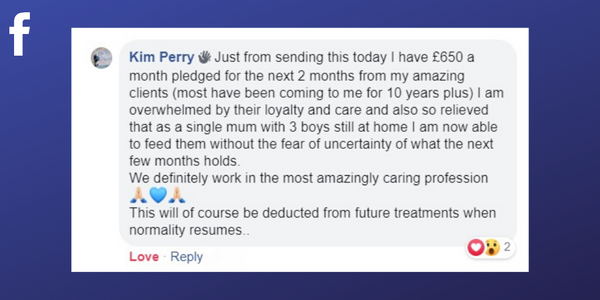 Facebook post from Kim Perry about asking clients for support with gift certificates