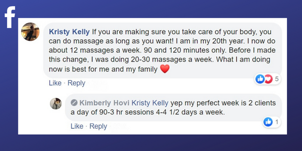 Facebook post from Kristy Kelly about scheduling treatments for the week