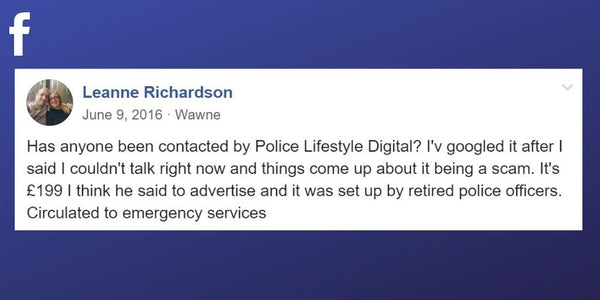 Facebook post from Leanne Richardson about another false advertising scam